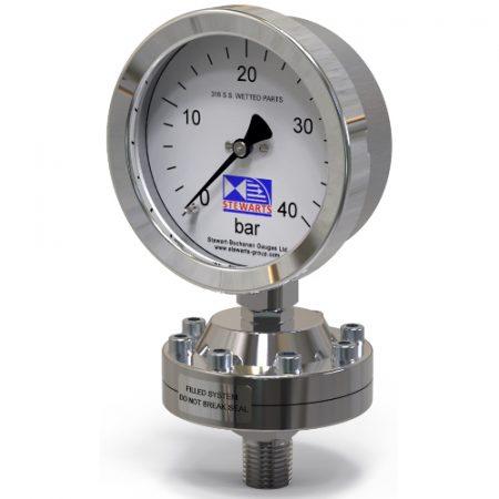 Pressure gauge Manometer chemical seal fra Stewarts