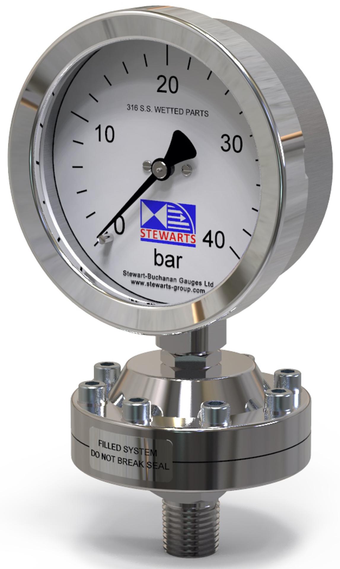 Pressure gauge Manometer chemical seal model 2030 fra Stewarts