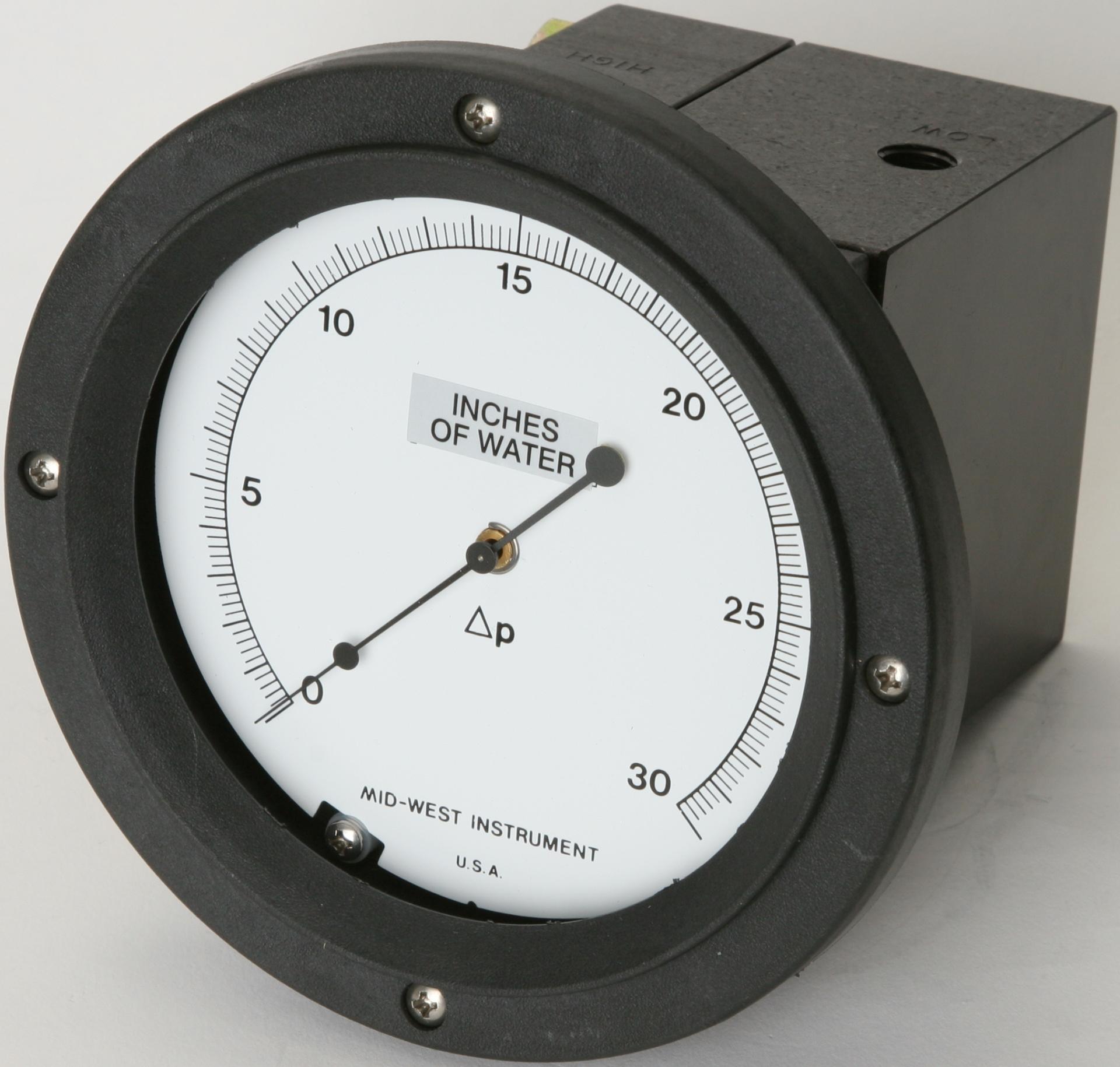 Filtervakt differential pressure DP sensor gauge protector manometer fra Mid-West model 105