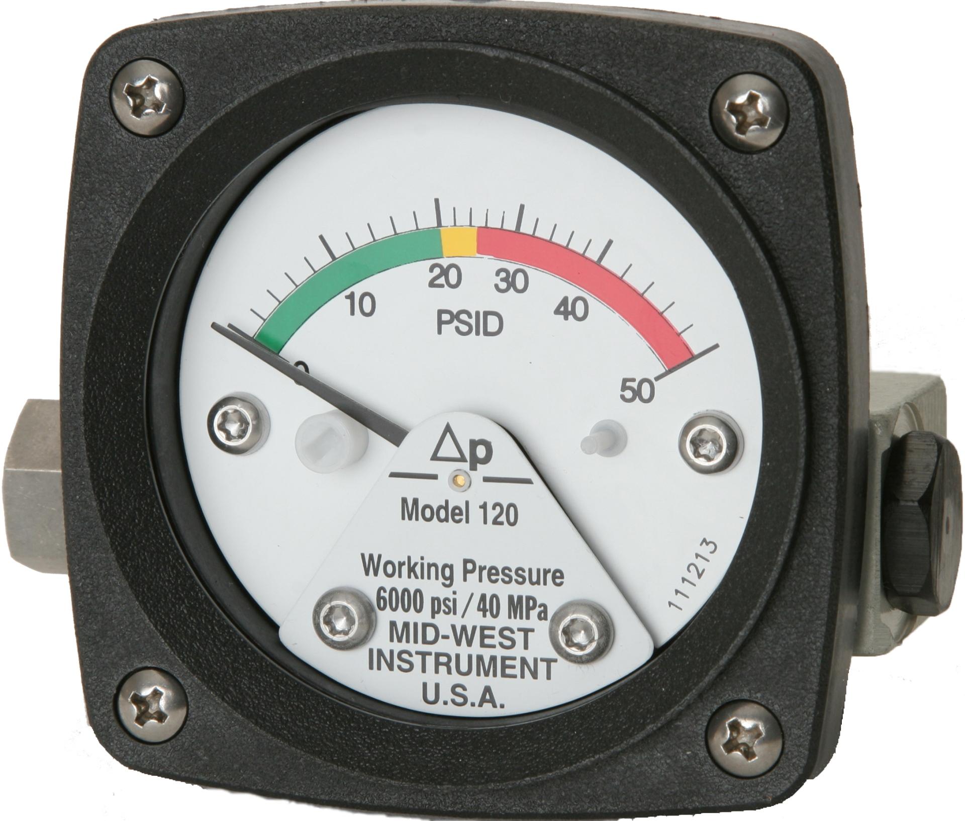Filtervakt differential pressure DP sensor gauge protector manometer fra Mid-West Model 120