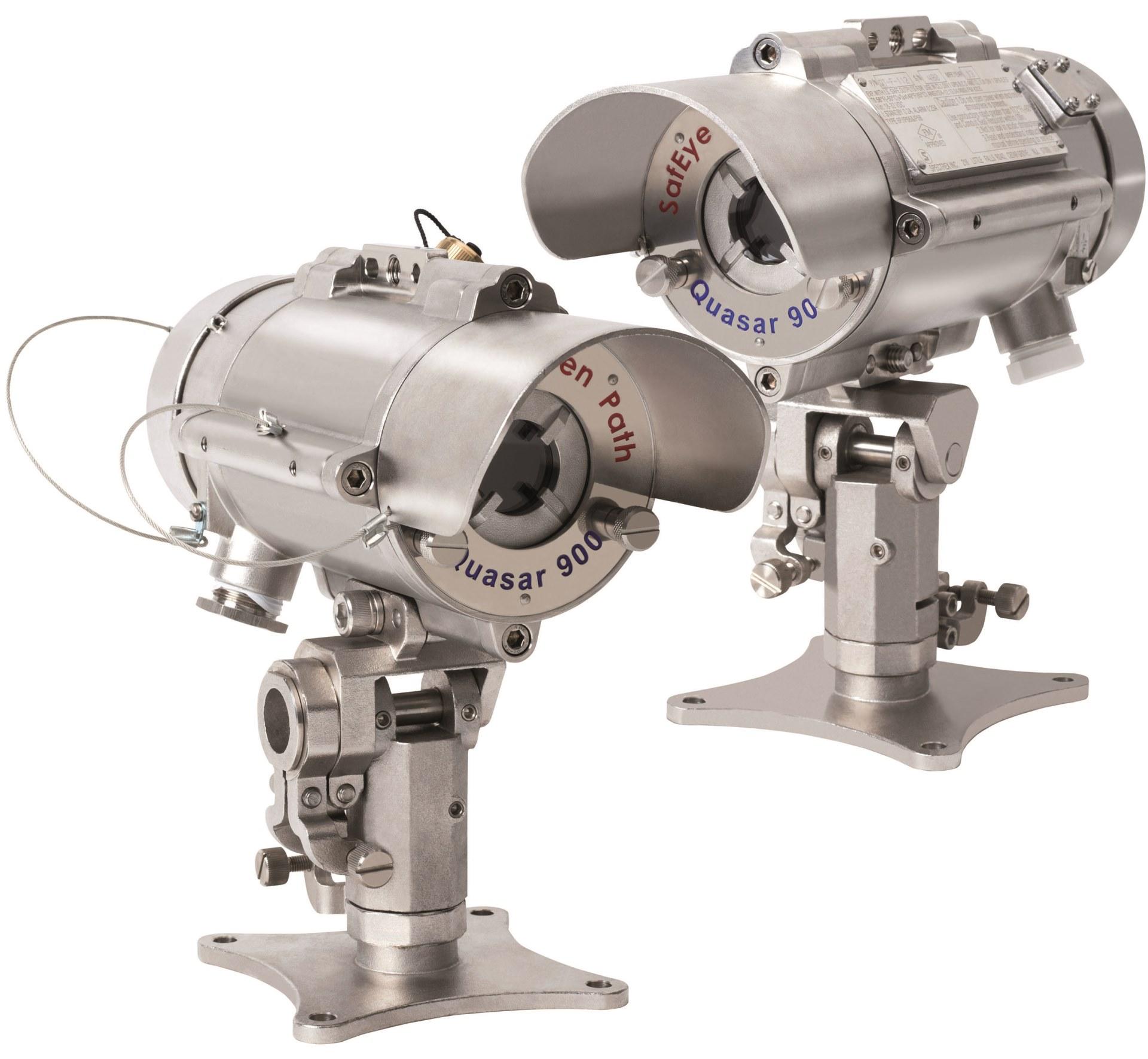 Gassdetektor gassmåler gassalarm ved gasslekkasje Gas leak detector sensor IR Infra red Linje Spectrex ATEX IECEx EExd-flameproof EExe approved SafEye Quasar 900