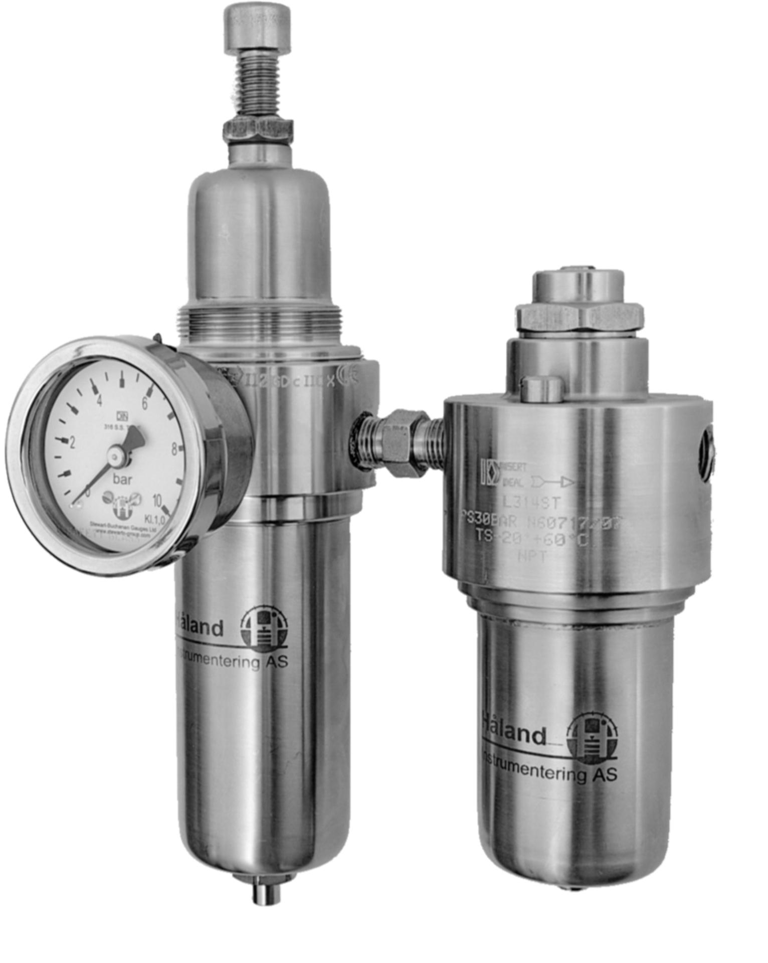 Luftregulator Gassregulator Luft filter regulator manometer tåkesmører pneumatikk 316SS rustfri 0,25in Insert Deal forhandler distributør Norge
