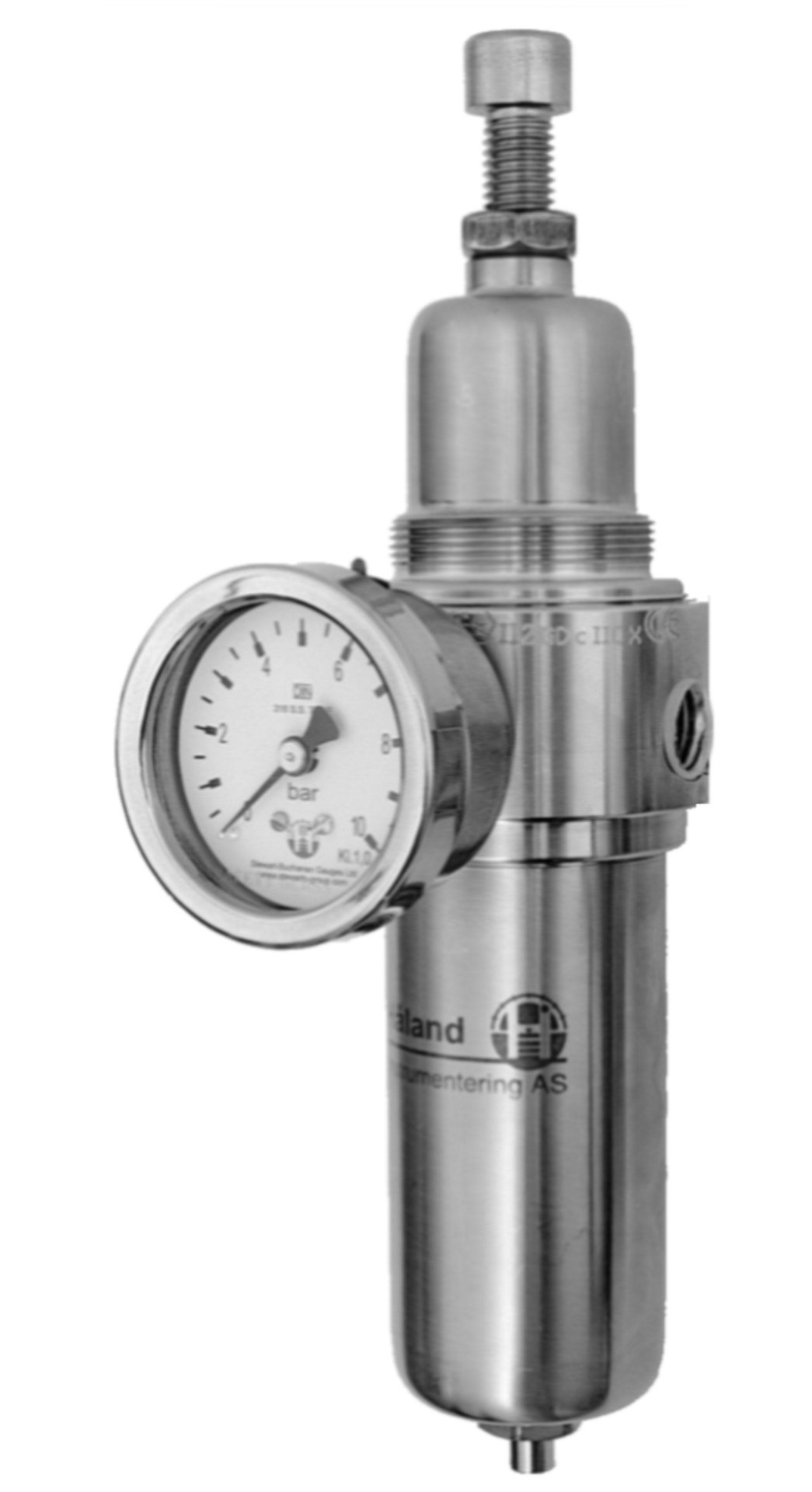 Luftregulator Gassregulator Luft filter regulator med manometer pneumatikk 316SS rustfri 0,25in Insert Deal forhandler distributør Norge