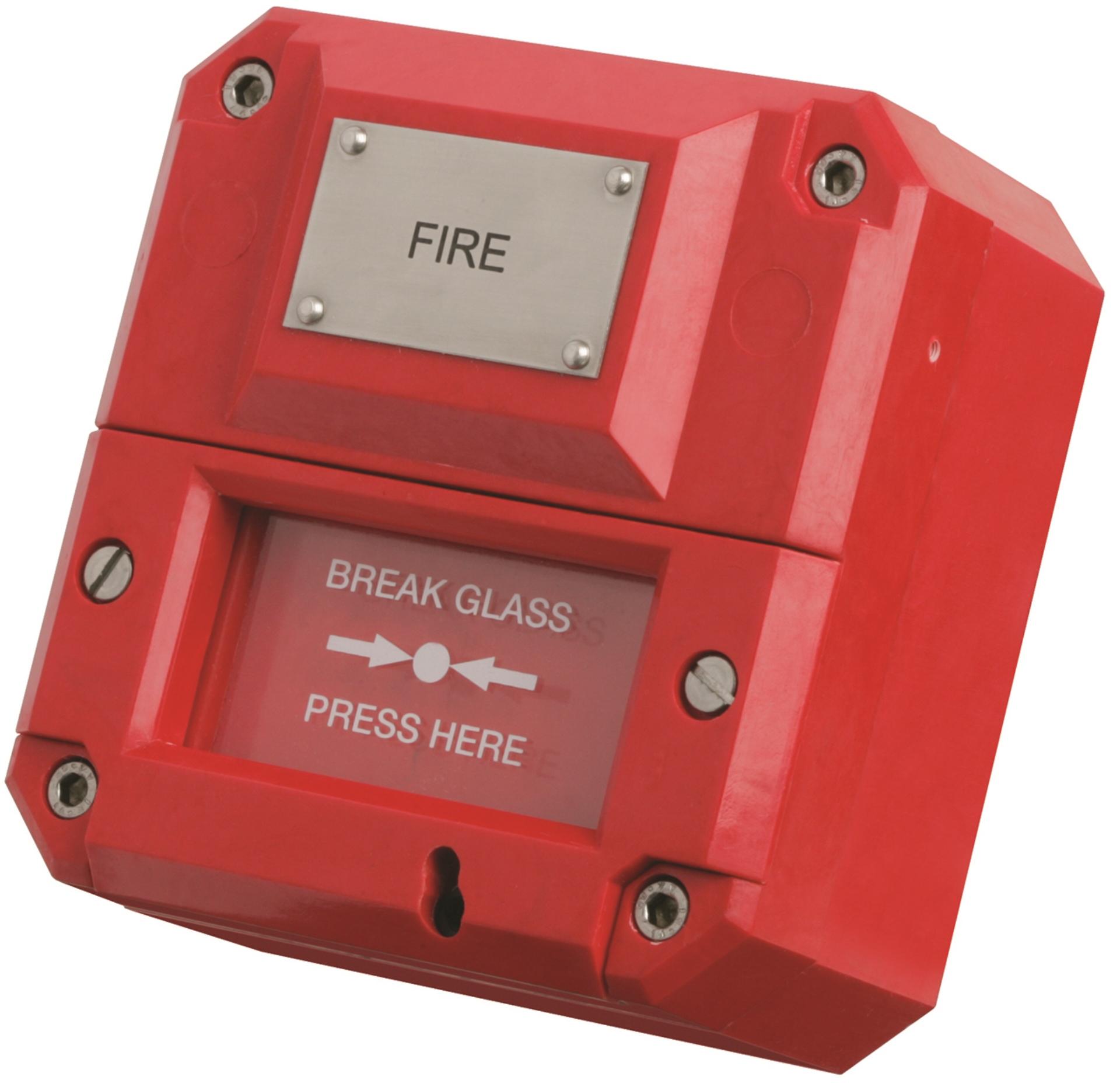 MEDC manuell melder brann flamme alarm akustisk Manual call point fire beacon sounder Flammedetektor fra Cooper Eaton