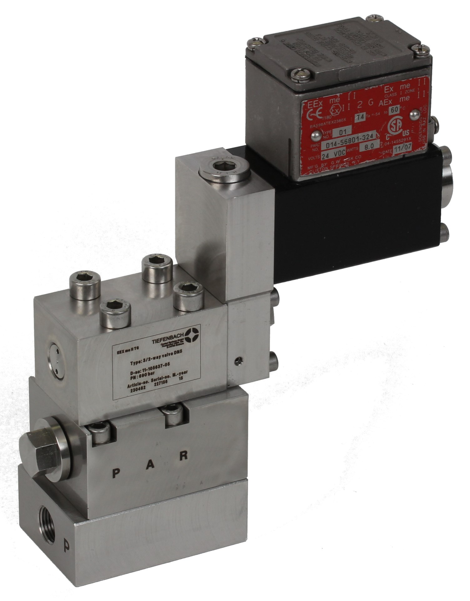 magnetventil solenoid operated ventiler hydrauliske valve hydraulic direct operated acting Ex Tiefenbach Forhandler