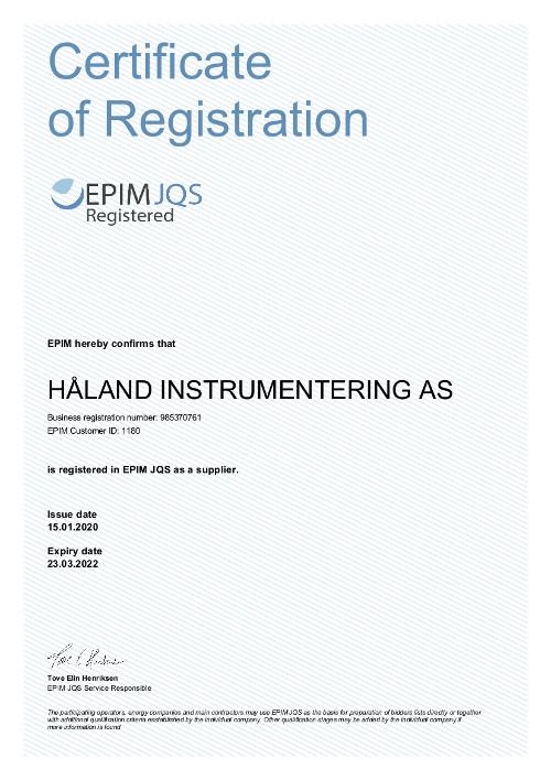 EPIM JQS Supplier register Qualification of suppliers