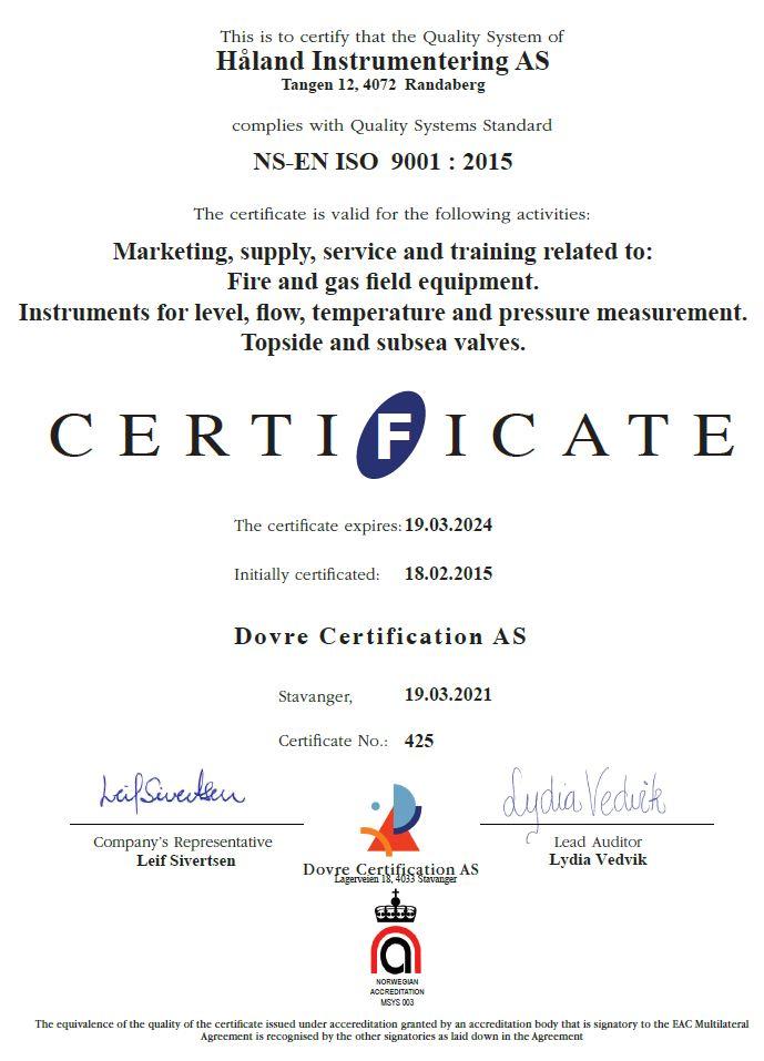 QA Kvalitetssystem ISO 9001 :2015 Quality system Certified Certificate Sertifikat Håland Instrumentering AS Bilde